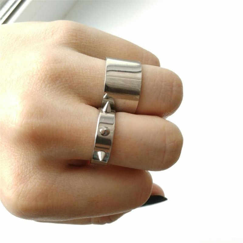 Wide 12mm 316L Stainless Steel Ring Wedding Rings For Women Fine Jewelry Titanium Steel Punk Rings