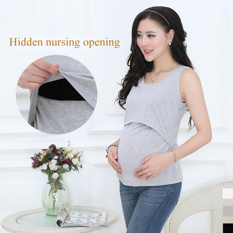 Cotton Clothes For Pregnant Women Nursing Tank Top Maternity Clothes Breast feeding Sleeveless Vest Of Women Pregnancy Clothes
