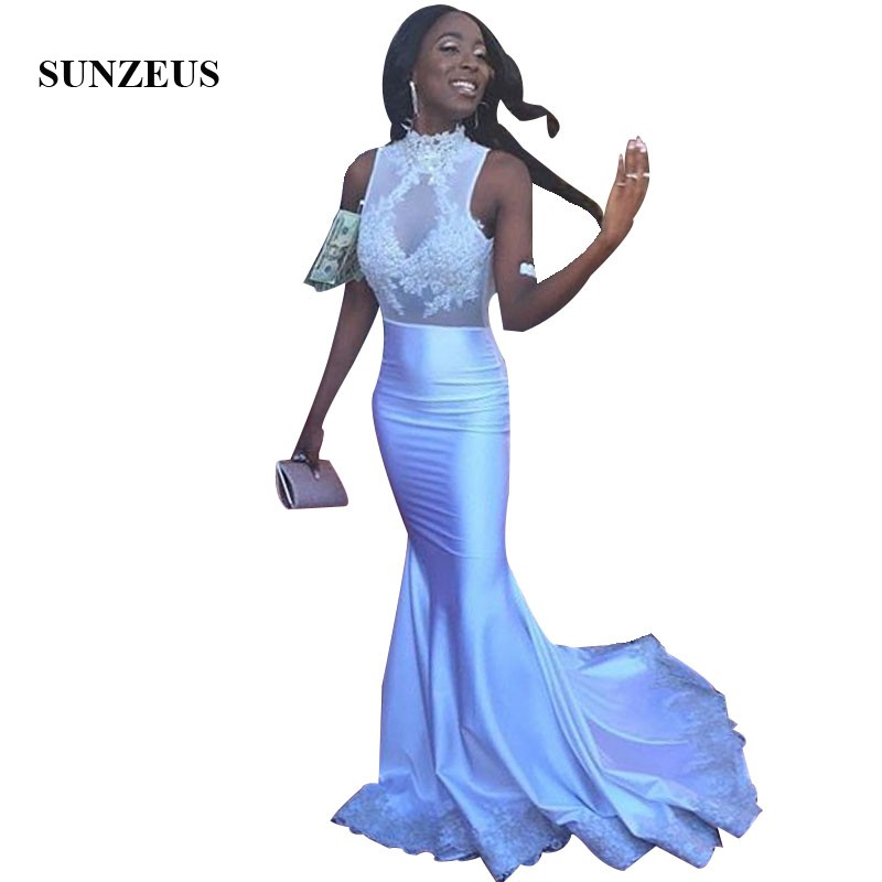 High Neck Appliques   Prom   Gowns Mermaid Long Ivory   Dress   For Black Girls Sleeveless Illusion Bodice   Prom   Kleid