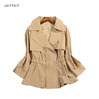 Women Summer Jacket Office Ladies Khaki Black White Slim Jacket Coat Suit Three Quarter Sleeve Casual