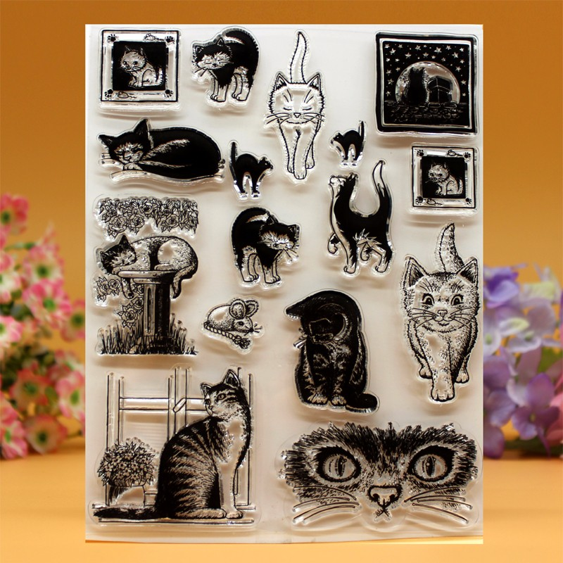 YLCS049 cat Silicone clear stamps for Scrapbooking DIY photo album cards decoration Embossing folder craft rubber stamp 14*18cm jwhcj vintage cat date wood roller stamps for children diy handmade scrapbook photo album diary book decoration students stamps
