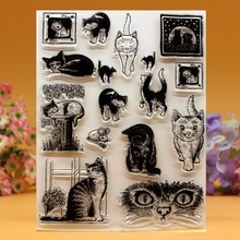 YLCS049 cat Silicone clear stamps for Scrapbooking DIY photo album cards decoration Embossing folder craft rubber stamp 14*18cm