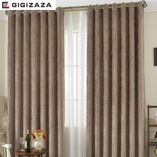 Snow lady chenille fabric window curtain grey color high black out blinds process finished size shade american style for room