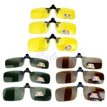 цена на New Polarized Day Night Vision Clip-on Flip-up Lens Sunglasses Driving Glasses free shipping