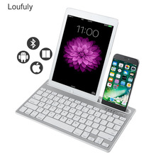 Bluetooth Keyboard Wireless Dual Channel Multi-Device Rechargeable with Sturdy Stand for Tablet