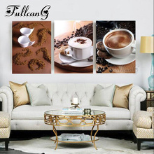 FULLCANG diy 5d diamond embroidery sale hot coffee painting triptych full square/round drill mazayka rhinestones FC900