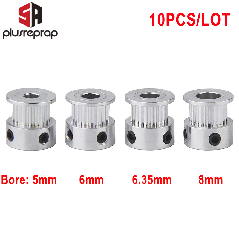 10PCS GT2 20 Teeth Timing Pulley Bore 5mm 6.35mm 8mm For 6mm Belt 3D Printer Parts Wholesale