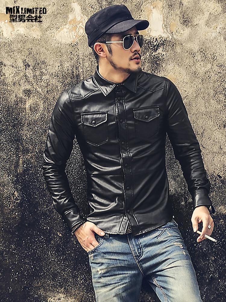 New Men Clothing Casual Slim Fit men long sleeve Leather shirt Motorcycle jacket Men Dress Shirt Long Sleeve chemise homme S509