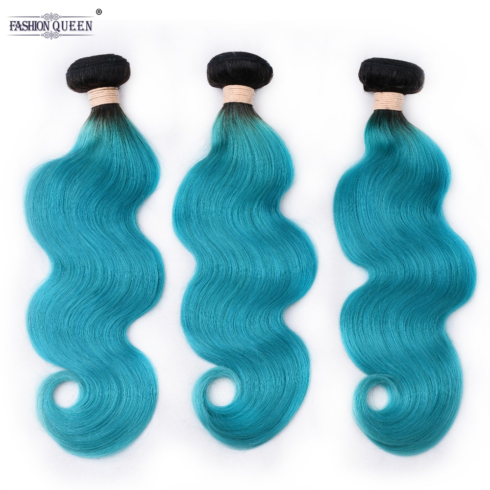 Pre-Colored 2 Tone Blue Peruvian Body Wave Bundles Ombre 3 Bundles T1B/Blue Dark Roots Non Remy Human Hair Weave(China)