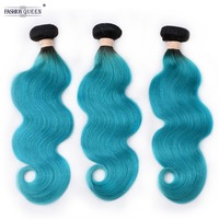 Pre Colored 2 Tone Blue Peruvian Body Wave Bundles Ombre 3 Bundles T1B/Blue Dark Roots Non Remy Human Hair Weave