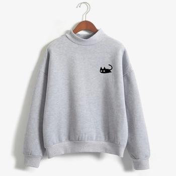 2019 Autumn Casual Harajuku Kawaii Black Cat Sweatshirts Women Long Sleeve Turtleneck Tops Pullover Funny
