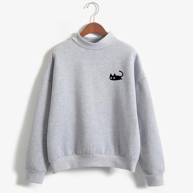 2019 Autumn Casual Harajuku Kawaii Black Cat Sweatshirts Women Long Sleeve Turtleneck Tops Pullover Funny Cartoon