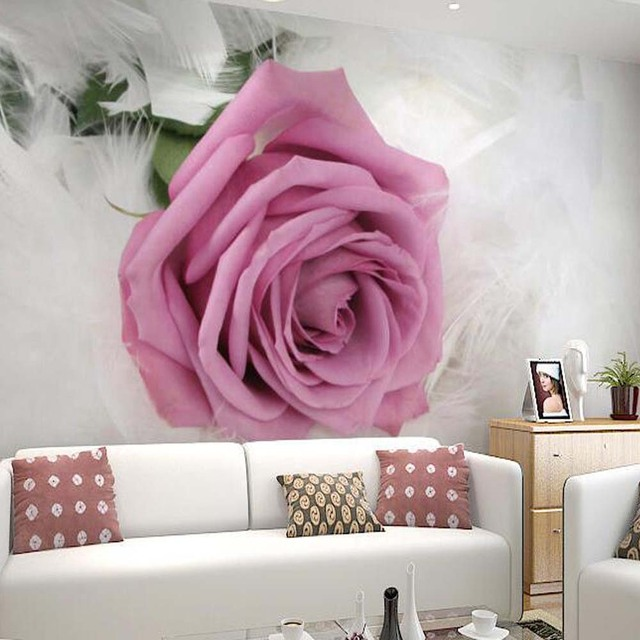 Aliexpress.com : Buy 3D Customized Size Pink Rose Wall Mural Modern ...