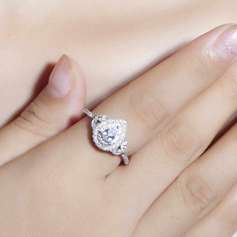 ขายร้อน Real 925 เงินงานแต่งงานแหวนนิ้วมือหรู - ตัด cut SONA แหวนเพชรสำหรับสุภาพสตรีเครื่องประดับ anel ของขวัญ