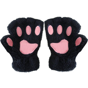 Damskie zimowe modne rękawiczki zwierzęce rękawiczki krótkie pół palcowe rękawiczki puszyste niedźwiedzie pluszowe rękawiczki ciepłe miękkie rękawiczki z paskiem tanie i dobre opinie SDPRUS Kobiety Wool Dla dorosłych Zwierząt Nadgarstek Moda CSII8560-gg animal paw gloves gloves with claws gg gloves guantes de lana sin dedos con tapa
