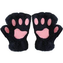 Damskie zimowe modne rękawiczki zwierzęce rękawiczki krótkie pół palcowe rękawiczki puszyste niedźwiedzie pluszowe rękawiczki ciepłe miękkie rękawiczki z paskiem tanie tanio SDPRUS Kobiety Wool Dla dorosłych Zwierząt Nadgarstek Moda CSII8560-gg animal paw gloves gloves with claws gg gloves guantes de lana sin dedos con tapa