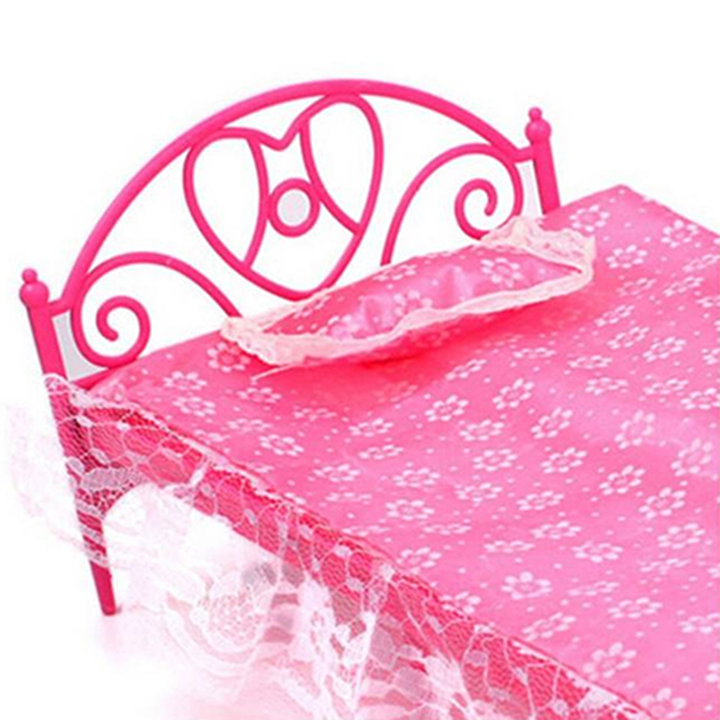 aliexpresscom buy free shipping plastic miniatures bedroom furniture single bed with pillow and bed sheet for barbie dolls dollhouse kids gift from - Shipping Bedroom Furniture