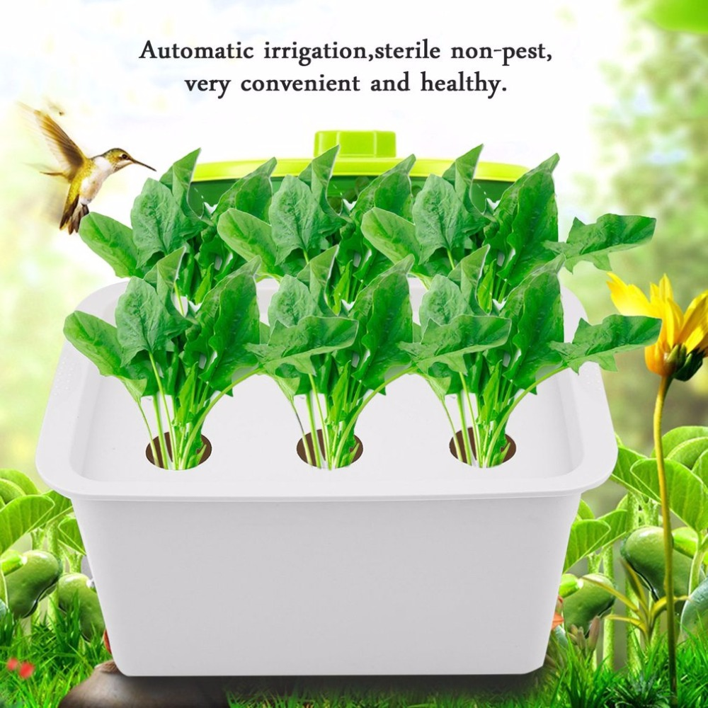6 Holes 220V/110V Plant Site Hydroponic System Indoor Garden Cabinet Box Grow Kit Bubble Garden Pots Planters Nursery Pots