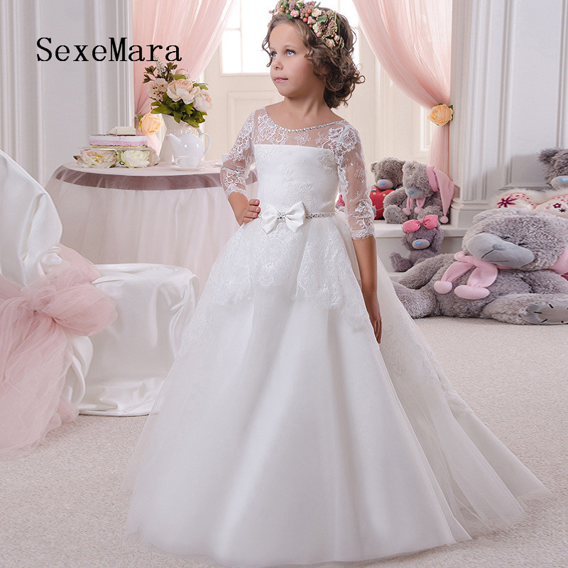 Lace 2019 White   Flower     Girl     Dresses   for Wedding Baby   Girl   Birthday Party Gown First Communion   Dresses   for Children   Girl   Any Size