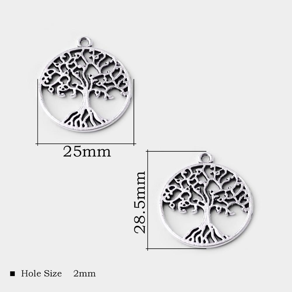100pcs Tree Antique Silver Charms Pendants DIY Jewelry Accessories  29*25mm