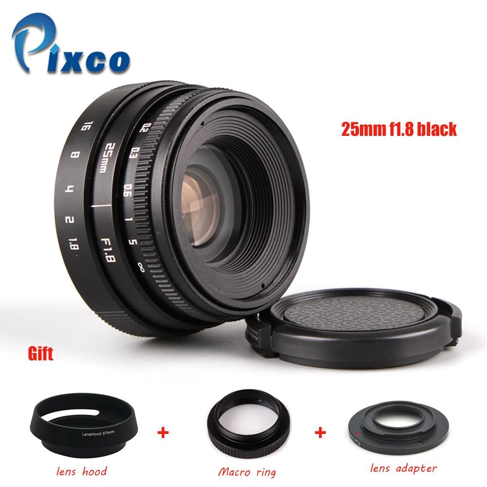 Negro 25 mm f / 1.8 APS-C TV lente + parasol + macro anillo + C a la - Cámara y foto