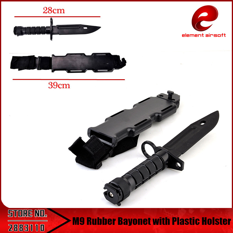 M9 Tactical Training Dagger Cosplay Plastics Knife Hunting Rubber Training Knifes Modeling Bayonet with Plastic Holster CS CY337