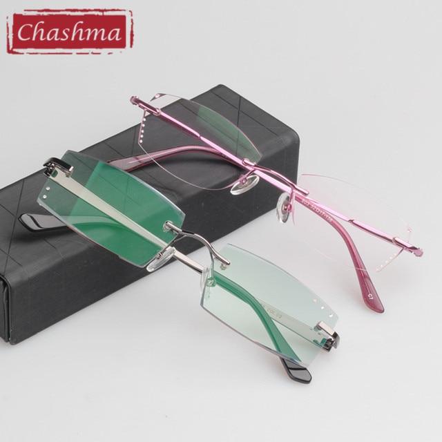 a8cfd5b88c1 Chashma Newest Style Titanium Frame Eyewear Diamond Cutting Frameless Women  and Men Reading Glasses