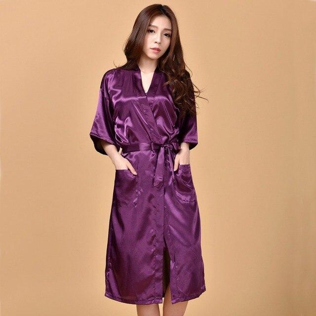 2b326f05ec022 Nouveauté Robe rayonne violet Sexy pour femmes Robe de nuit Kimono Long Robe  de chambre Sexy