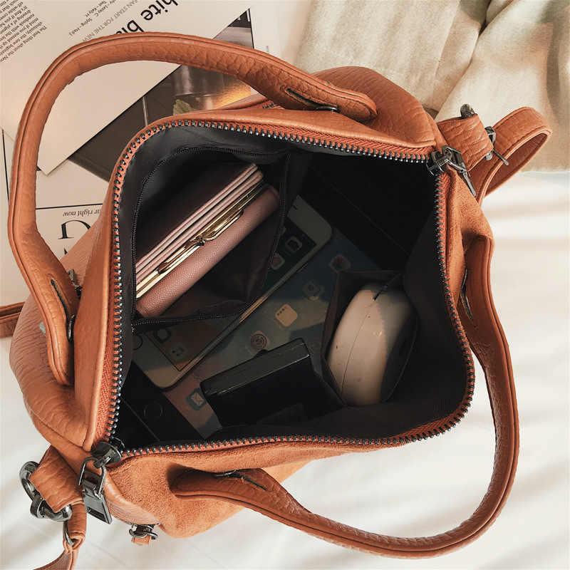 Nigedu Vintage Keling Tas Tangan Wanita Kulit Matte Boston Besar Tote Tas Musim Dingin Baru Tas Bahu untuk Wanita Tas Messenger Blosa sac
