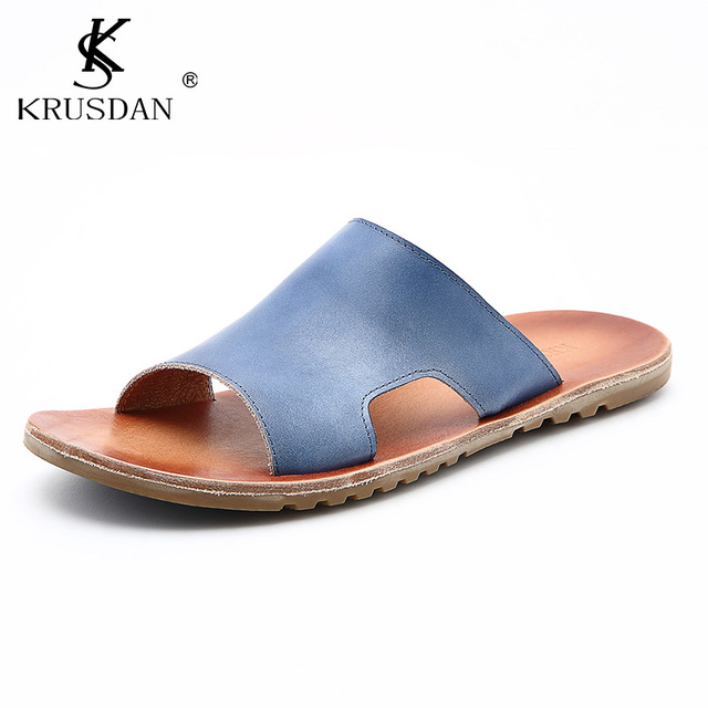 33d1d8dc9d0588 Top Quality Men s Shoes Genuine Leather Sandals Italian Style Luxury Brand  Summer Beach shoes Men s Sandals Slippers Men Sandals