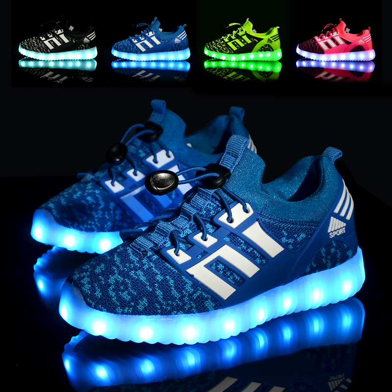 2016 Rechargable Kids Shoes with USB Sneakers Children Light UP LED Boys & Girls Luminous Led Sport Size 25-37