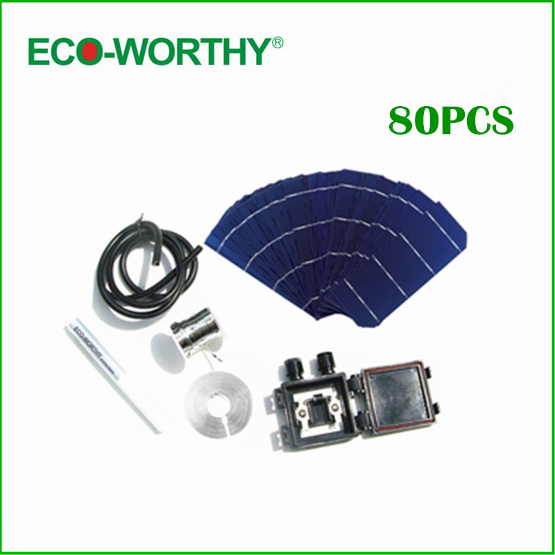 ECO-WORTHY 80pcs 156*58.5mm Solar Photovoltaic Cells Tab Wire Bus Wire Flux Pen Junction Box Cable cell 6x2 for DIY Solar Panel follow the river