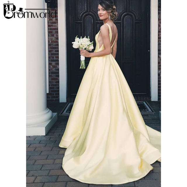 628bfd288e28 Promworld Sexy Yellow Prom Dresses 2019 V-Neckline Backless Long Prom Gown  Satin Evening Party