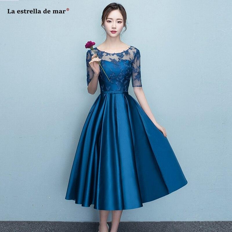 Vestidos para festa de casamento2019 new Scoop neck lace satin Half sleeve navy blue   bridesmaid     dress   Tea Length