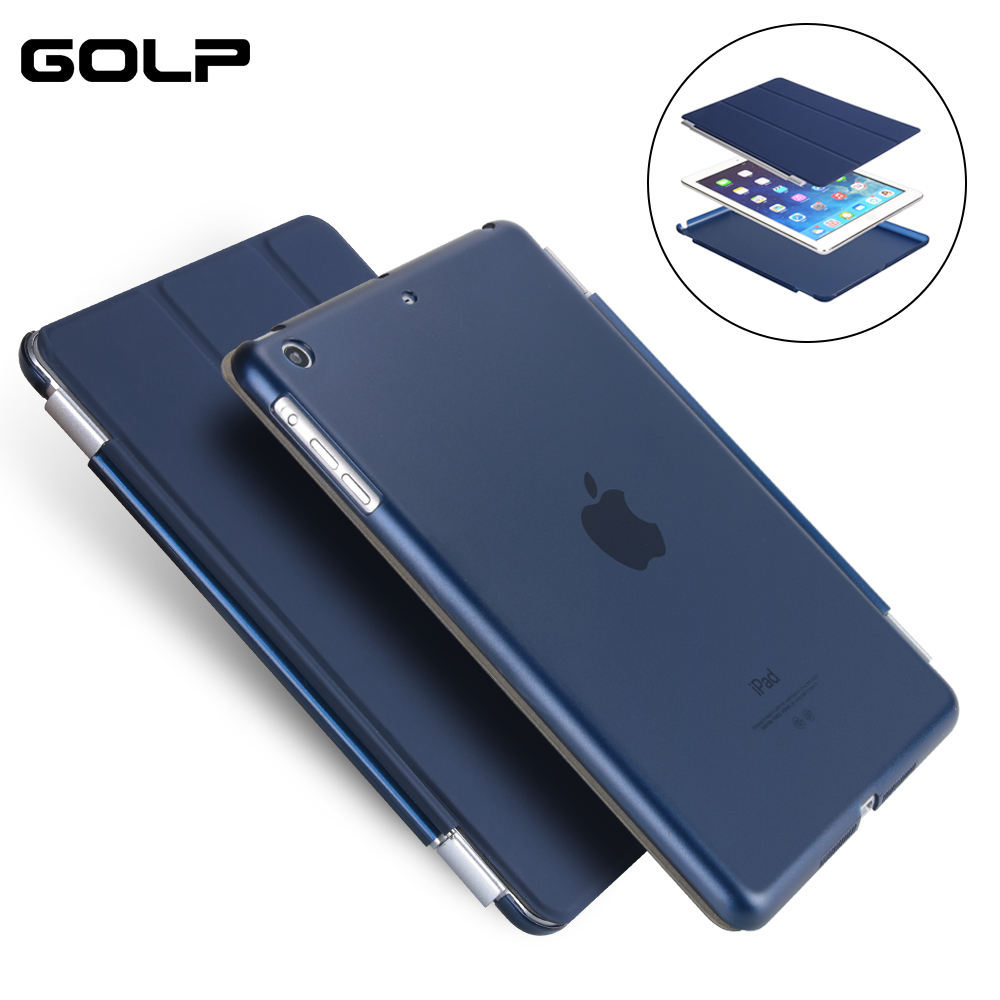 Case for IPad Mini 1/2/3, GOLP 2 In 1 Perfect Fit Magnetic PU Leather Smart Cover PC Translucent Back Case for IPad Mini 1/2/3 simple protective pc back case for iphone 5c translucent green