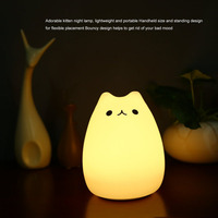 New Rechargeable Colorful Silicone Animal Light With Lovely Cat Shape Touch Sensor Light Bedroom Light With