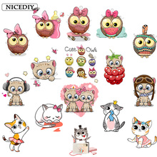 Nicediy Cute Owls Animal Iron on Patches Cat Heat Transfer Stickers Thermo for Clothes Kids DIY Tops Tshirt Decor Badge