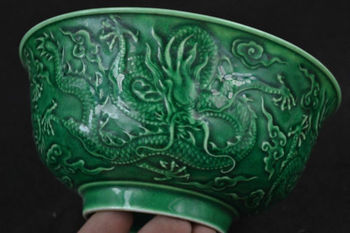 Elaborate Chinese Old Jingdezhen Porcelain Vivid Fly Dragon Auspicious Bowl