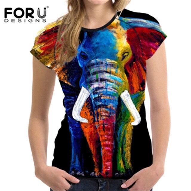 79eccd46ac8017 FORUDESIGNS Women T Shirts 3D Elephant Printed Short Sleeve Shirts Female  Harajuku Brand Colorful Tee Ladies T-shirt Camisetas