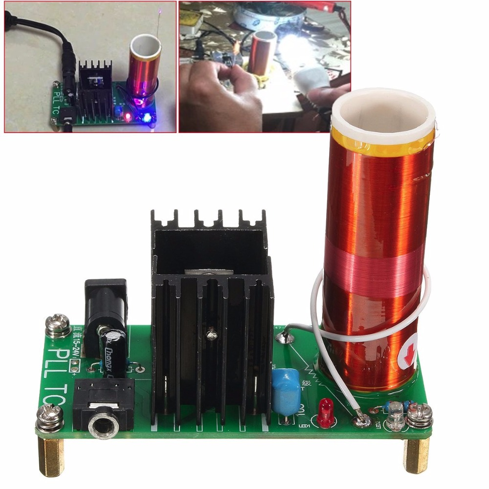 15W Tesla Coil Plasma Music Wireless Power Transmission Across Air Horn Lighting