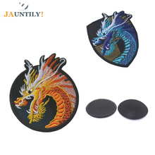 Fabric  Embroidered Badge Chinese Dragon Armband 100% Exquisitely Precision Full Embroidered  Patches Hook&Loop Double Side все цены