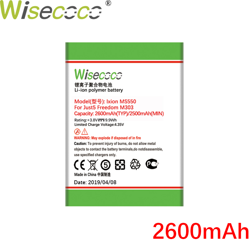 WISECOCO 2600mAh M303 NEW Battery For Just5 Freedom M303 Mobile Phone High Quality Battery+Tracking Number image