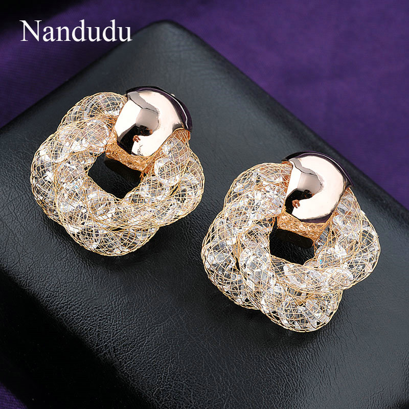 popular geometry store product plated zircon earring stud gold for earrings fashion women elegant white classic jewelry