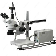 Fiber Optic Stereo Microscope–AmScope Supplies 3.5X-90X Fiber Optic Y & Ring Lights Stereo Microscope + 8MP Camera