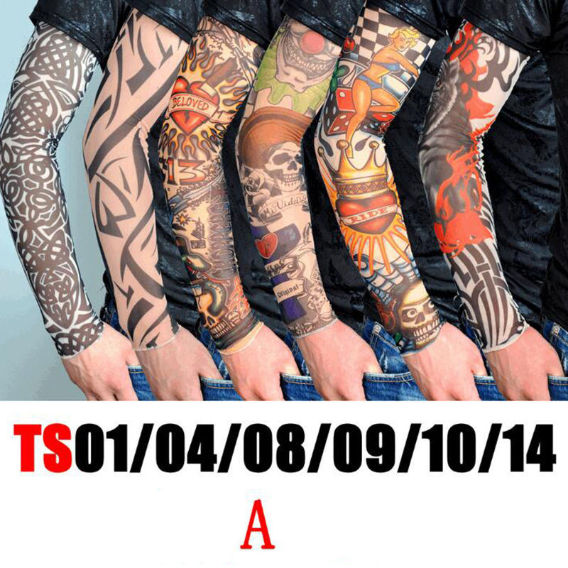 6pcs/lot Nylon Tattoo Sleeves Men High Elastic Temporary Fake Tattoo Cool Arm Leg Sleeve Warmer Outdoor Party Dance Sleeve
