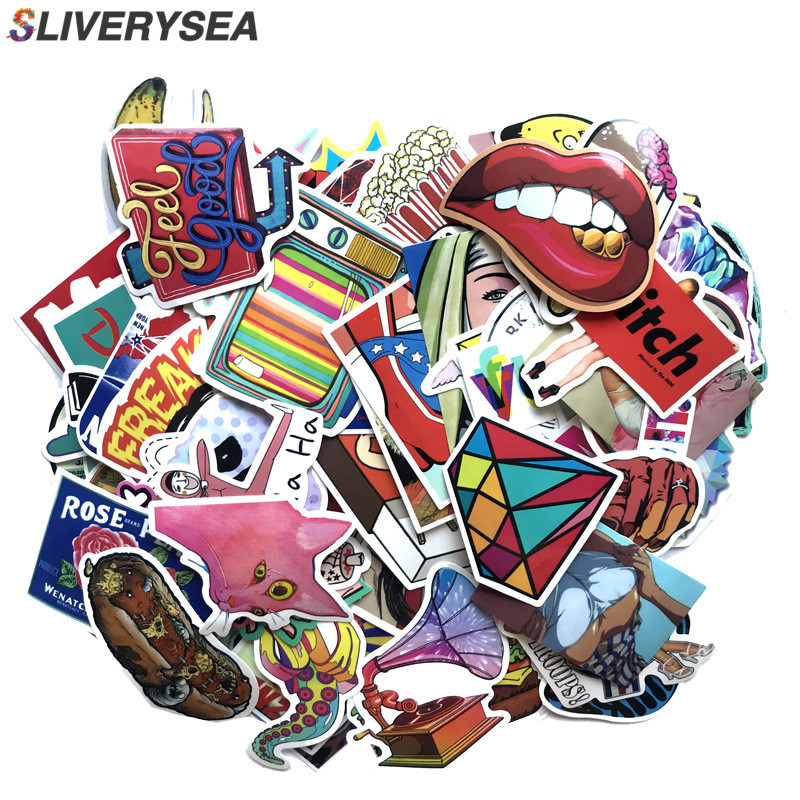 100pc/Lot Graffiti Europe Rock Hip Hop Style Stickers For Luggage Suitcase Skateboard Waterproof