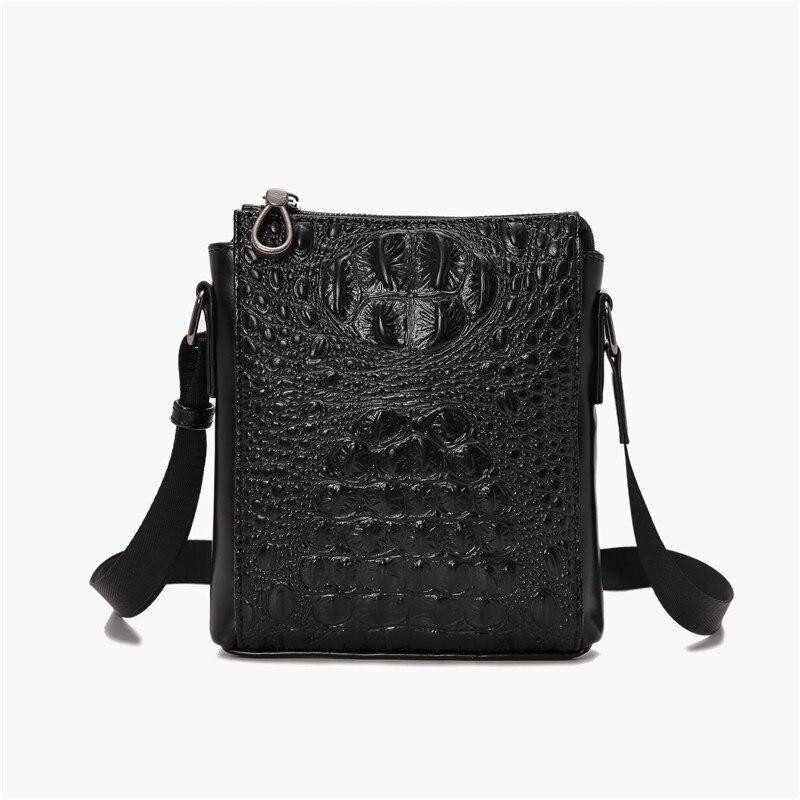 Men Work Bag Messenger Portafolio Hombre Office Briefcase Single Shoulder Bags Alligator Pu Leather Small Cell Phone Pocket