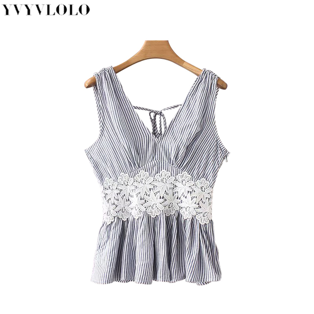 048bde5cbd5d2c Flower lace Stitching tops Retro stripe sleeveless vest top Sexy V-neck  Open back Bow tie vests fashion Casual party top