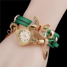 цена на Women Round Analog Rhinestone Bow Pendant Layered Quartz Lobster Claw Clasp Wrist Casual Watch Rhinestone,
