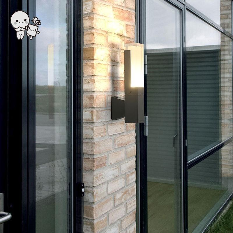 Extérieur noir gris aluminium acrylique carré lampes murales luminaire étanche moderne porche applique lumière pour escalier balcon jardin
